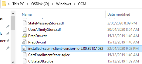 SCCM client install Identification