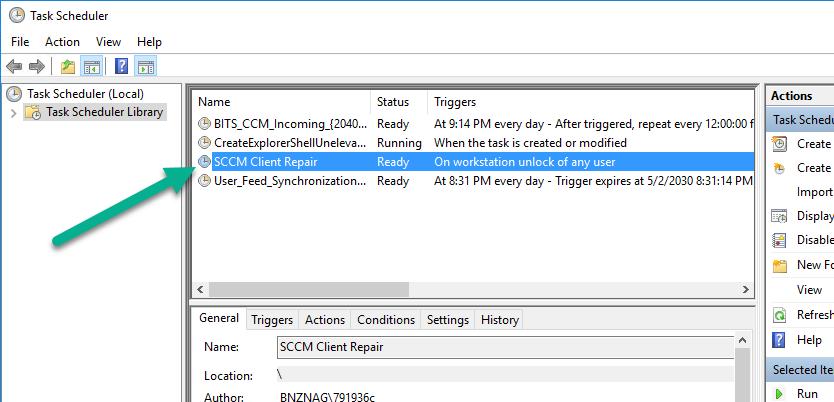 SCCM client repair schedule task