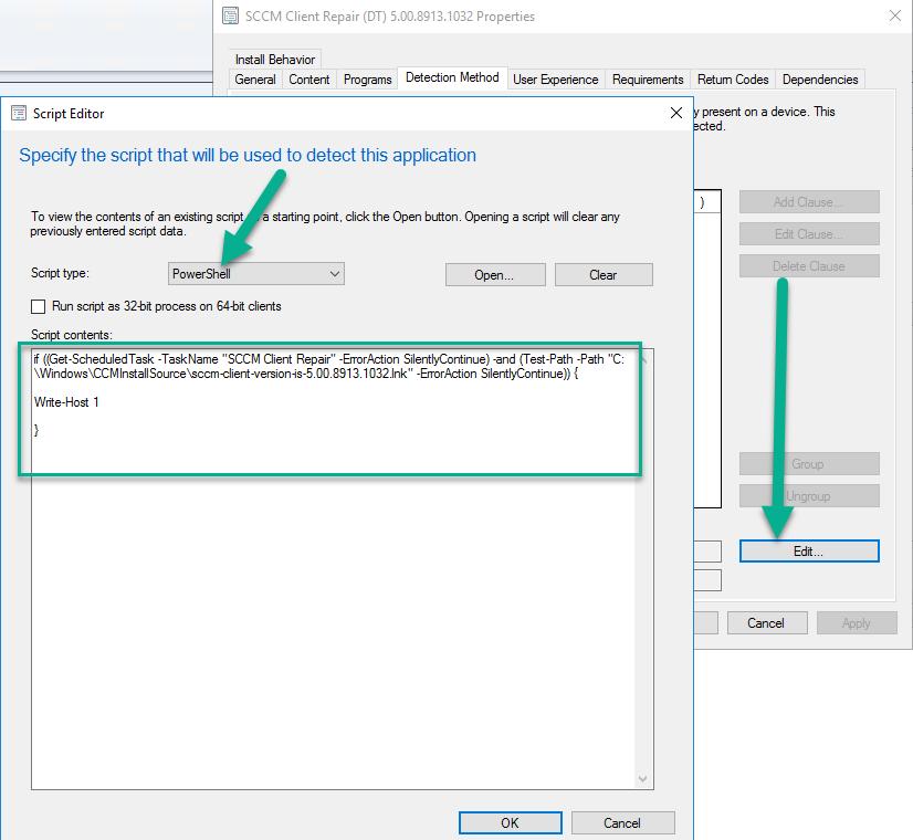 sccm client install script detection