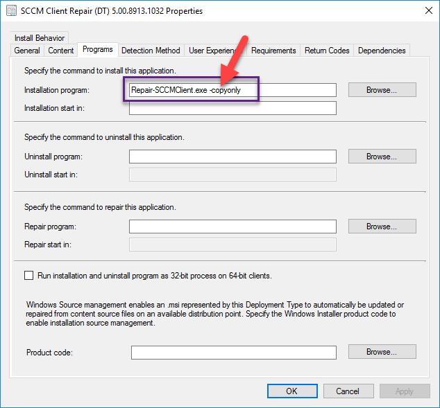 SCCM client install command line
