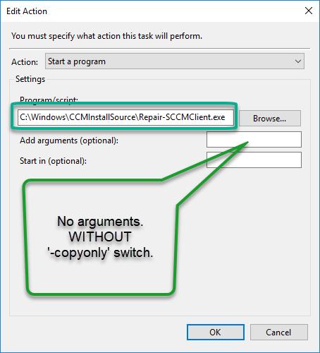 SCCM client Install Reinstall - Schedule task
