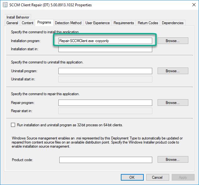 SCCM client Install Reinstall