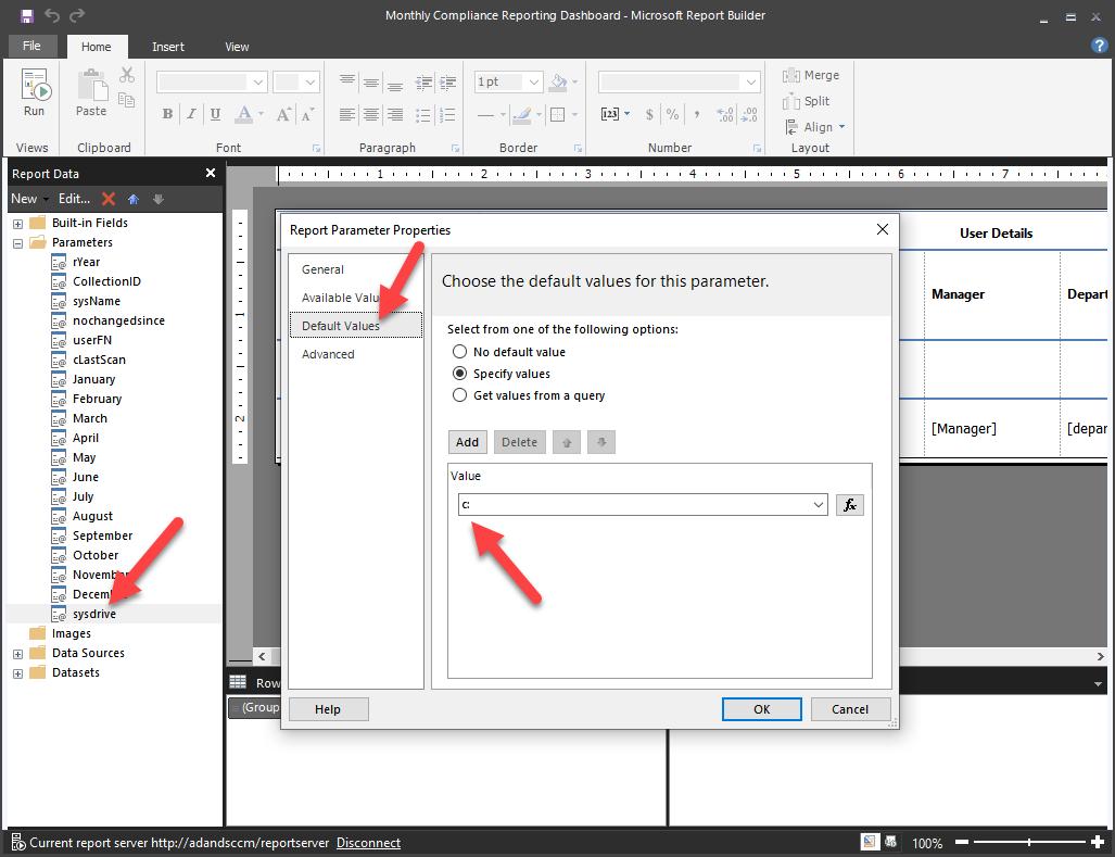 Software Update Compliance Report - Report builder