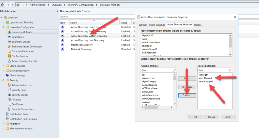 whenCreated and whenChanged SCCM AD attributes